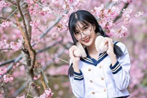 Обои Цветущие деревья Азиатки Боке Рука Улыбается Миленькие Брюнетки Очков Смотрит девушка