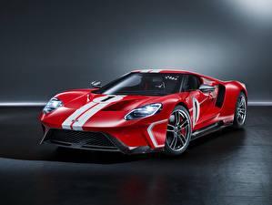 Картинки Форд Тюнинг Красная Полоски GT, 2018, 67 Heritage Edition Автомобили