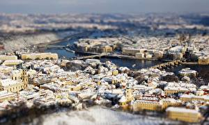 Фото Дома Прага Чехия Сверху Боке Города
