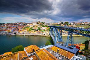 Фотографии Здания Реки Мост Порту Португалия Облако River Douro, Vila Nova de Gaia, Dom Luís I Bridge