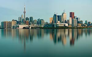 Обои для рабочего стола Здания Торонто Канада Берег Отражении Башни город