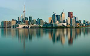 Обои Здания Торонто Канада Берег Отражении Башни город
