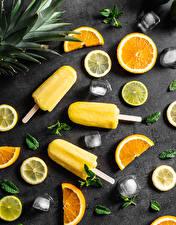 Фотография Мороженое Лимоны Апельсин Нарезка Часть Пища