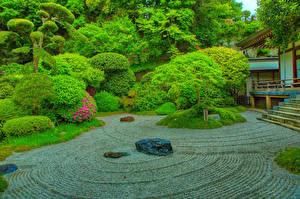 Обои для рабочего стола Япония Парк HDRI Дизайн Кустов Деревьев Kamakura Природа
