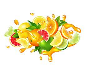Обои Сок Цитрусовые Лайм Лимоны Грейпфрут Векторная графика Белом фоне С брызгами Пища