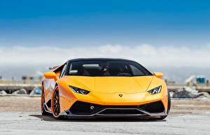 Обои Ламборгини Спереди Металлик Оранжевых Желтая Hyuracan авто