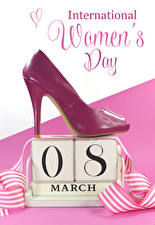 Картинка Международный женский день Английский Текст Туфель Сердца