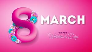 Картинка Международный женский день Розовый Цветной фон Текст Английский