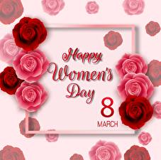 Фото Международный женский день Розы Векторная графика Текст Английский