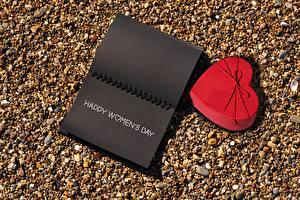 Обои 8 марта Камень Блокнот Сердечко Подарки Слова