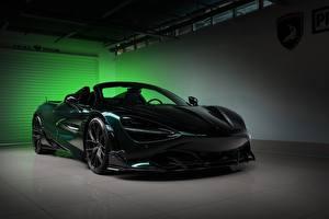 Картинка Макларен Зеленый Металлик Карбоновый Родстер Spider, TopCar, Fury, 2020, 720S Автомобили