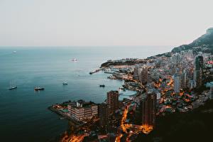 Картинка Монако Побережье Дома Монте-Карло Корабль Утро Сверху город