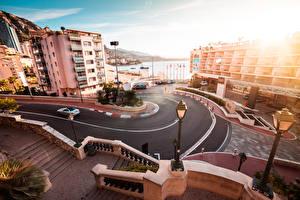 Обои для рабочего стола Монако Дороги Монте-Карло Здания Уличные фонари Улице город