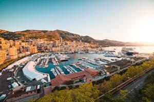 Обои Монако Рассвет и закат Монте-Карло Пирсы Корабль Яхта Здания город