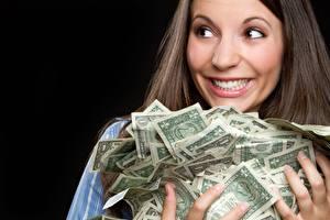 Фотографии Деньги Много Банкноты Счастье Улыбается девушка