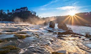Фото Утро Водопады Швейцария Речка Солнца Лучи света Rheinfall, Schaffhausen Природа