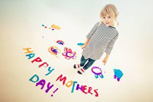 Фотография День матери Блондинки Английская Слова ребёнок