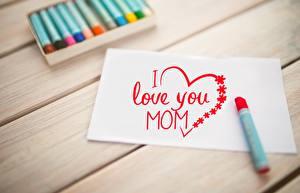 Фотографии День матери Доски Лист бумаги Сердце Слово - Надпись Английский