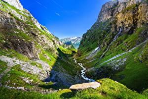Фотография Горы Франция Скала Альпы Ручей Refuge de Sales, Haute-Savoie