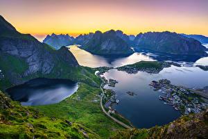 Фотографии Гора Лофотенские острова Норвегия Пейзаж Сверху Заливы Reinebringen, Reine, fjords Природа