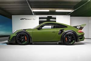 Картинки Porsche Зеленый Сбоку 911 Turbo S TechArt 2019 GT Street RS авто