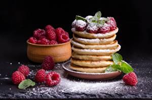 Обои Сахарная пудра Ягоды Малина Блины Мяты Пища