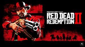 Картинки Red Dead Redemption 2 Мужчина Винтовка Шляпе Arthur Morgan компьютерная игра