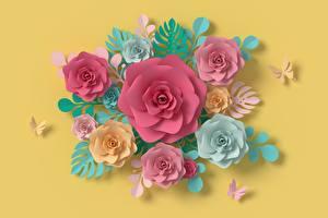 Фото Роза Цветной фон Бумаге Дизайна цветок 3D_Графика