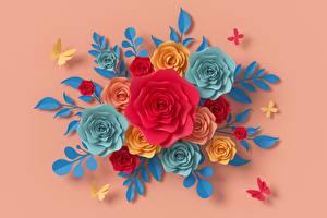 Фотографии Розы Цветной фон Бумага Дизайн цветок