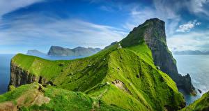 Картинки Небо Остров Маяк Дания Облачно Скале Kalsoy, Faroe Islands