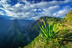 Картинка Небо Гора Франция Облачно Réunion, Cap Noir, Dos d'Ane, Cirque de Mafate