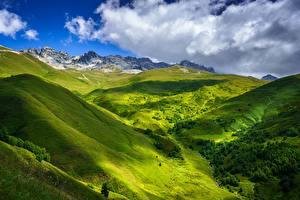 Фотографии Небо Гора Грузия Облачно Холмы Near Tetnuldi, Upper Svaneti