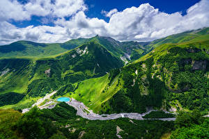 Картинки Небо Гора Пейзаж Грузия Облачно Gudauri, Mtskheta-Mtianeti Природа