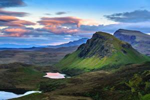 Фотографии Небо Гора Шотландия Облака Isle of Skye, Hebrides, Quiraing Природа