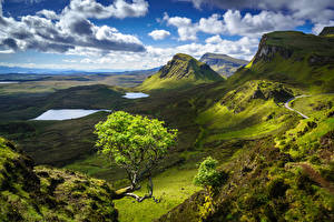 Картинка Небо Горы Шотландия Пейзаж Облачно Холм Isle of Skye Природа