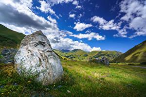 Фото Небо Горы Камни Грузия Луга Облака Upper Svaneti, Sno Природа