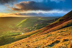 Обои Небо Пейзаж Англия Облака Холмов Трава Природа