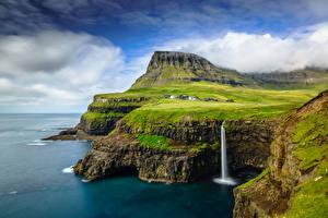 Фотографии Небо Водопады Остров Дания Облако Скала Gásadalur, Vágar, Faroe Islands