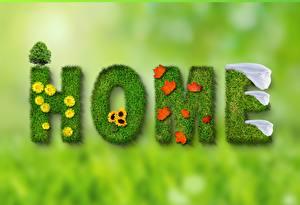 Картинка Весенние Боке Слово - Надпись Инглийские Листва HOME