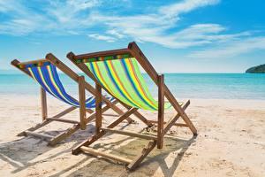 Фотография Лето Море Пляжа Песка Отдыхает Шезлонг Природа