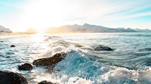 Фотография Рассветы и закаты Камень Волны Горы С брызгами