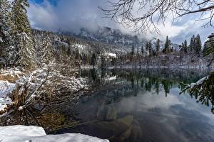 Картинка Швейцария Озеро Зимние Снега Lake Cresta