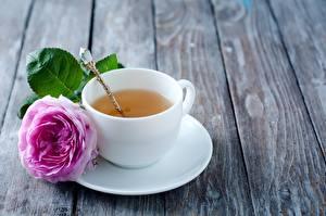 Картинки Чай Роза Чашке Ложки Блюдца Пища