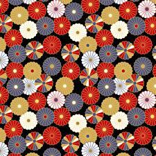 Картинка Текстура На черном фоне Разноцветные Japanese style