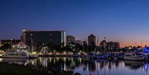 Фотография Штаты Здания Речка Пирсы Речные суда Калифорнии Ночные Shoreline Village in Long Beach город