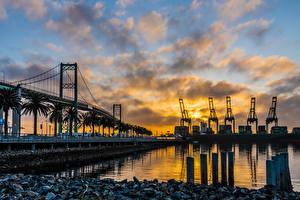 Фото Штаты Речка Мост Вечер Лос-Анджелес Залива Vincent Thomas Bridge город