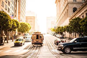 Картинки США Сан-Франциско Улица Трамвай Города
