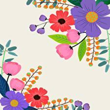 Фото Векторная графика Бумаге Шаблон поздравительной открытки цветок