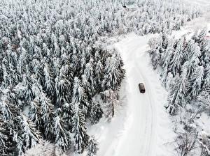 Фотографии Зимние Дороги Лес Снега Сверху Природа