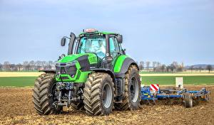 Картинка Сельскохозяйственная техника Трактор Зеленая Deutz-Fahr 9340